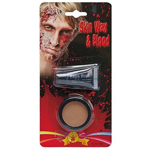 NET TOYS Halloween Schminkset Modellierwachs und Kunstblut Fakeblut mit Hautwachs Zombie Schminken