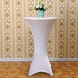 Acelectronic Tischdecke 2 Stück,Stretchy Tischhussen für Stehtische/Bistrotisch/Tischdurchmesser Ø 60-65cm in Weiß - Tisch Husse Tischüberzug für Tische mit 4 Füßen - 5