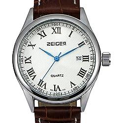 ZEIGER Elegant Herren Uhr Datum Herrenuhr Quarz Armbanduhr Herren Armbanduhr Analog Braun Leder ArmbanduhrW313