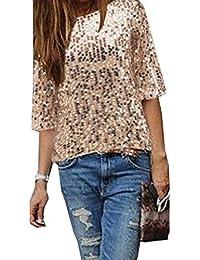 e21c5e8ec Mujeres Suelto Tops Lentejuelas T-Shirt Remata Tees Casual Cuello Redondo  Media Manga Camisetas Blusa