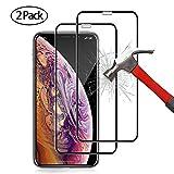 opamoo iPhone XS Max Panzerglas, 2 Stück Schutzfolie für iPhone XS Max Panzerglasfolie 9H Härte HD Displayschutzfolie für iPhone XS Max 6.5 Zoll Anti-Kratzer, Blasenfrei, 3D-Touch - Schwarz