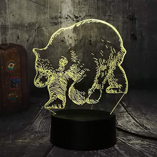 Hlfymx Neue Starke Bär Tier 3D Led Tischlampe 7 Farbwechsel Nachtlicht Raum Wohnkultur Lustre UrlaubSpielzeugS Geschenke