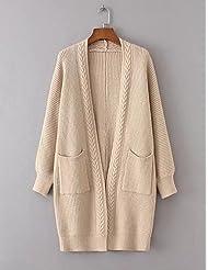 PU&PU Longue Cardigan Femme Sortie D¨¦contract¨¦ / Quotidien simple Chic de Rue,Couleur Pleine Mao Manches Longues Laine Coton AutresPrintemps