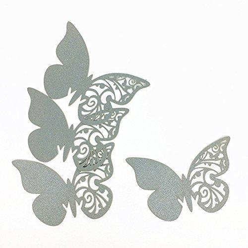 ElecMotive 50Tlg Schmetterling Tischkärtchen Wandsticker Namenskärtchen Platzkarte Namensschild für Hochzeiten Feste Partys (Grau)
