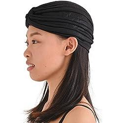Casualbox | Twist Plisado Turbante Bandana Árabe Indio Moda Quimio Sombrero Negro