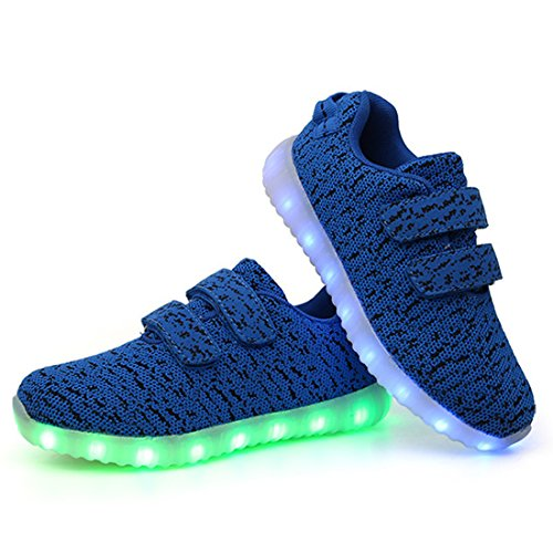 DorkasDE LED Schuhe Leuchtend Schuh USB Aufladen Sneakers Atmungsaktiv und bequem Turnschuhe brillant Stil Schuhe für Kinder Jungen Mädchen Blau