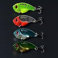 EQREF® metallo Fishing Lure Crankbait galleggiante manovella Spinnerbait verde e Bait Treble Hook Tackle 5,5 centimetri Vita-like