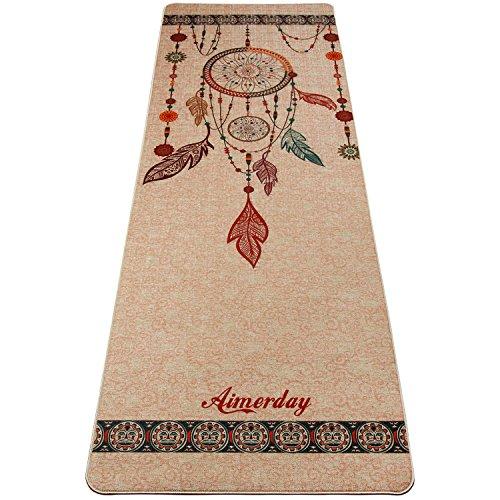 Aimerday tappetino yoga antiscivolo professionale fitness palestra pilates yoga mat ecologico iuta gomma naturale materassino spessore di 5mm, dimensione 183cmx61cm, con cinghia per il trasporto