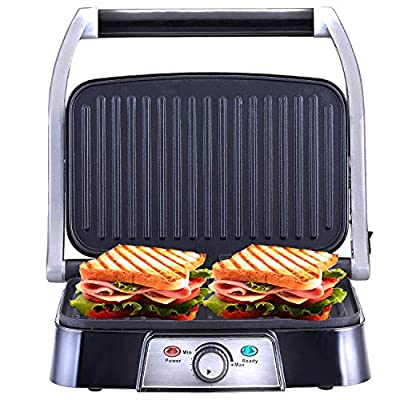 Netta 2 Slice Panini Maker & Health Grill, Sandwich Toaster Toasties with Non-Stick Plates - 1500W - Stainless Steel Sandwhich Press