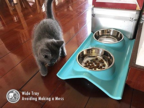 UBEST Hundenapf Anti-Schmutz Design Fressnapf abwaschbar Edelstahlnäpfen für Hunde und Katzen, Rosa - 3
