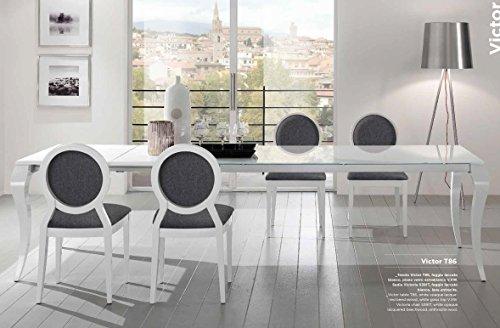 Friulsedie Table Extensible T86 Victor 180 x 90 Top Pieds hêtre laqué Brillant Blanc Plan Verre
