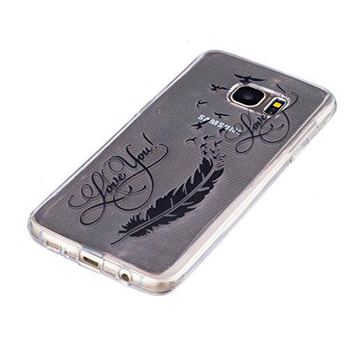 iPhone 6/6S 4.7 gel di silicone Custodia (con Gratuito HD Proteggi schermo) CaseHome Elegante sbalzato bianca Modello Design Cristallo Pulire Ultra magro Magro Antiurto morbido Durevole Graffiare Re Uccelli Piuma # 2