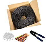 MutecPower 100m Outdoor PURE SOLID COPPER Cat6 Ethernet Network Cable 24AWG UTP RJ45 Waterproof Direct Burial Black Cable 100 meter