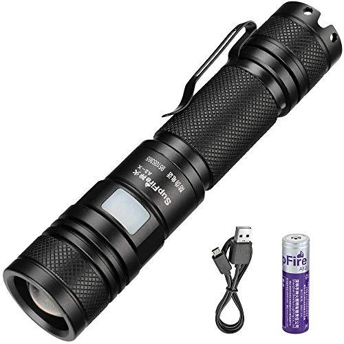 Supfire Flashlight Wasserdichte Zoombare Taschenlampe Superhelle 700-Lumen-LED mit 18650-Batterie, wiederaufladbar mit USB direkt, 5 Modi für Campingwandern, Radfahren usw, Modell A2-X 700 Lumen Led