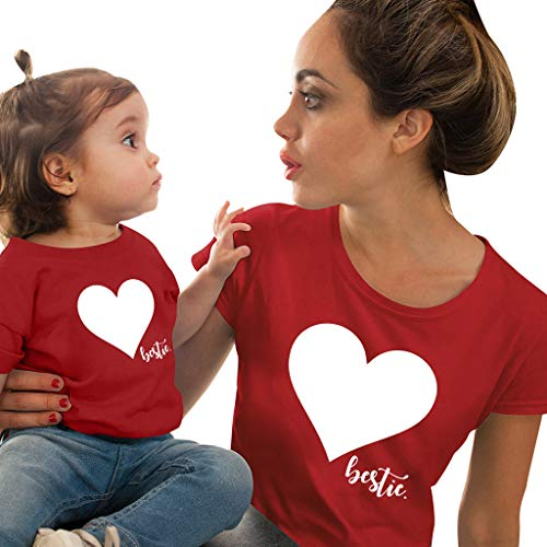 Sommer Lilicat Mutter/Dad Tochter Kleidung, Mom & Daughter Pullover Bluse Love Printed Langarm-Pullover Unterhemd T-Shirt Rundhals Oberteile...