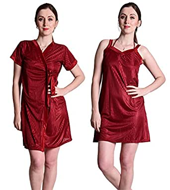Senslife Satin Purple Nightwear Sleepwear 2 Pc Set of Nighty & Wrap Gown SL005 (Maroon, Medium)