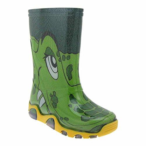 Gallux Kinder Gummistiefel Unisex Krokodil (0030-31B Green) EU 32-33 (Kinder Reiten Stiefel)