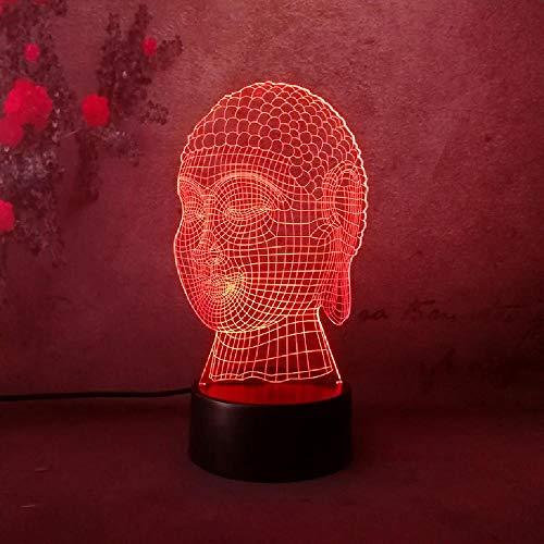 Neuheit 3D Tathagata Buddhismus Segne Buddha Kopf Led Charity Gradient Schlafen Nachtlicht Kind Freund Familie Geburtstag Weihnachtsgeschenk Bluetooth Smart Control 7 & 16M Farbe Mobile App