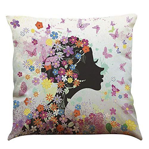 Yolmook Kissenbezug, A45 x 45 cm, Motiv: Dream Schmetterling Mädchen Baumwolle Leinen Überwurf Kissenbezug Home Decor, C, 45 cm*45 cm (Spiderman Paar Kissen)
