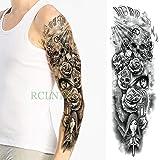 ljmljm 5 pcs Étanche Autocollant De Tatouage Crâne Croix Oeil D'Œil Plein Bras Tatto Tatoo Manches Grande Taille pour Hommes Femmes Fille Vert 48x17cm