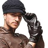 Nappaglo Herren klassische Lammfell Leder Handschuhe Touchscreen Reines Kaschmir-Futter Winter Warm Handschuhe (L (Umfang der Handfläche:21.6-22.8cm), Dunkelbraun(Non-Touchscreen))