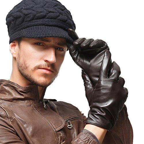 les gants de cuir nappaglo classique de garnitures de pur cachemire à écran tactile d'hiver chaud au volant des mitaines brun foncé (sans écran)