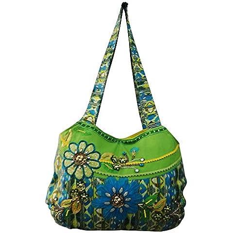 decorativos hechos a mano bolsa de perlas grandes impresas caso de compras los accesorios de las mujeres de las compras del monedero del bolso de mano boho verde gitano indio