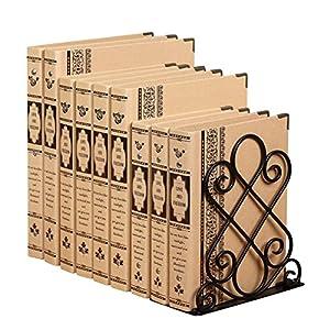 Decorativi grande fermalibro per mensole fai da te, design reggilibri in metallo, pesante e solida, Bronzo dipinto su una base nera