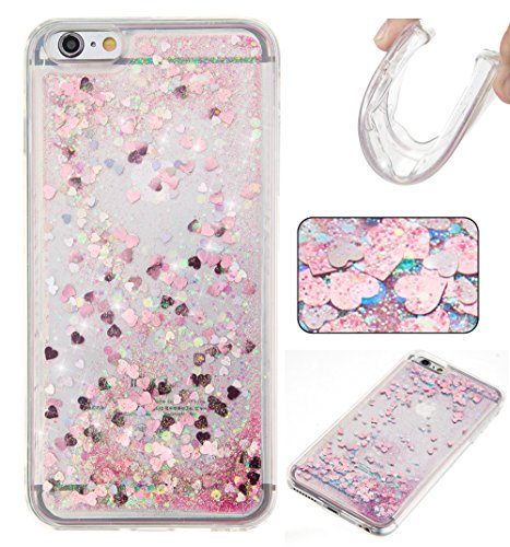 For iPhone 6 PLUS 5.5[CUTE SPARKLING]Novelty Creative Liquid Glitter Design Liquid Quicksand Bling Adorable Flowing Floating Moving Shine Glitter Case -GOLD EIFFEL PINK