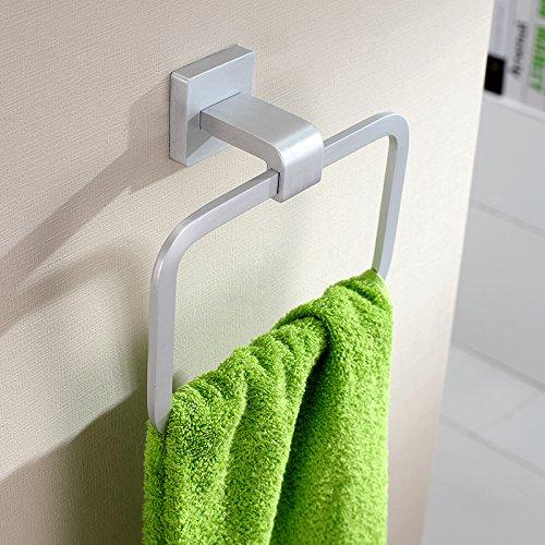 Badregal Bad Wandbehang Wandbehang Handtuchhalter Solid Space Aluminium Alloy Handtuchring Square -