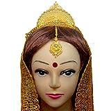 #3: Srijacollections Big Golden Crown Tiara Mukut for Bengali Indial Women Bride