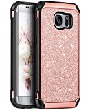 Samsung S7 Edge Coque, Coque Samsung galaxy S7 Edge, BENTOBEN Etui Housse Galaxy S7 Edge Brillante Ultra Mince Protection Antichoc 2 en 1 Hybride PC Dur + TPU Souple Résistante pour Galaxy S7 Edge, Or Rose