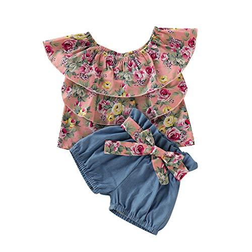 Zylione Ärmellose Bluse mit Rüschen und Blusen für Kinder + Shorts aus Denim