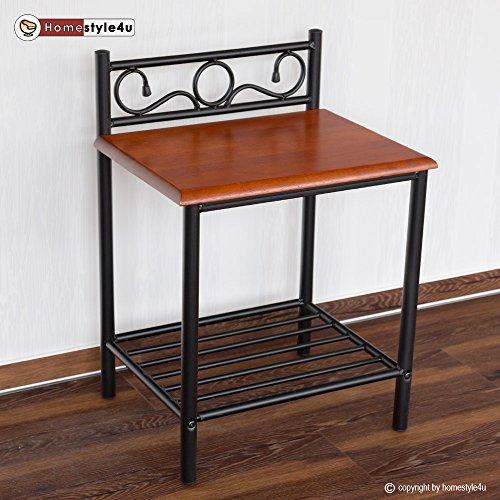Homestyle4u Nachttisch Nachtkonsole Nachtschrank Metall Beistelltisch Schrank Tisch - Schlafzimmer Metall Beistelltisch