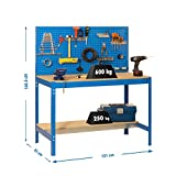 Simonrack 448100045126012 Banco de Trabajo (1440 x 1200 x 600 mm, 2 estantes y 1 Panel Perforado, 600 kg-250 kg) Color, Azul y madera, 1200 mm