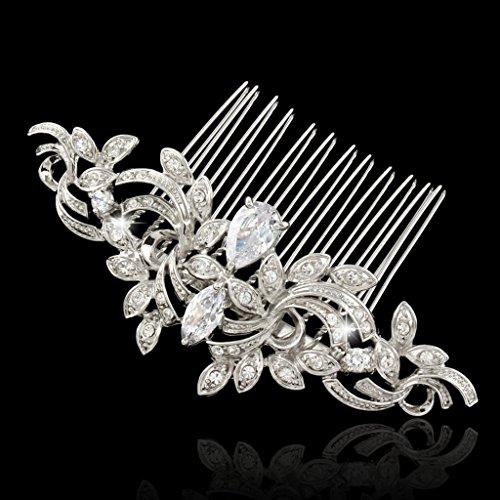 EVER FAITH® CZ österreichischen Kristall kunstvolles Vintage Style Muster Hochzeit Haarkamm Haarschmuck - 5