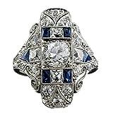 Yooshen Saphir Ring Verlobungsring in Silber oval Saphir-und Diamant-Set, Geschenk der Mutter Tages, Zirkonia Silberring (9)