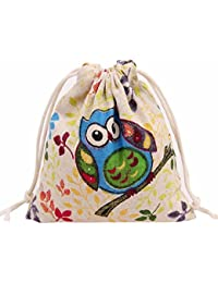 S : Culater® Women Cute Owl Printing Drawstring Beam Port Storage Bag For Travel Gift Bag (S)