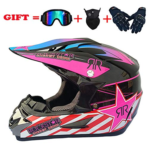 ZJRA Pinker Gradient-Motocross-Helm, Vollflächiger Offroad-Allradhelm ECE Downhill-Offroad-Motorradhelm MX ATV Für Erwachsene, 4Er-Set, DOT-Zertifizierung,S54~55CM