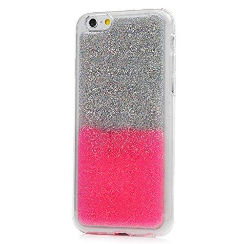 iPhone 6S Cover Silicone e Bling Glitter Brillanti, iPhone 6 Custodia Morbida TPU Flessibile Gomma QuickSand Stella - MAXFE.CO Case Sottile Cassa Protettiva per iPhone 6/6S - Oro Bling Rosa
