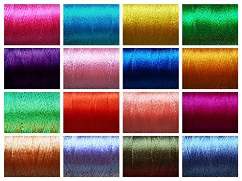 Kunst Seide Garn Gewinde Rollen ~ Hand & Maschine Stickerei ~ Viskose Rayon) ~ 20sortierte Farben ~ Jede Rolle 680M. -