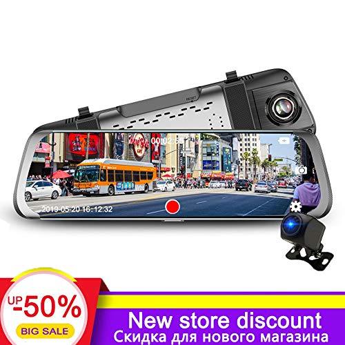 Hadeyicar Neue Heckkamera 1080P Auto DVR Doppelobjektiv Dash Cam 10''IPS Touchscreen-Recorder Fahrspiegelansicht,With16GCard 15in Lcd Dvr