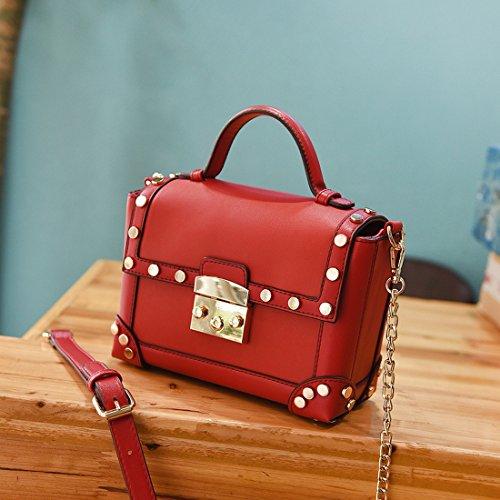 b5ccc0c36d9f7 Handtasche Frauen Tasche quadratisch klein Umhängetasche Einfache Handtasche  schräg rot
