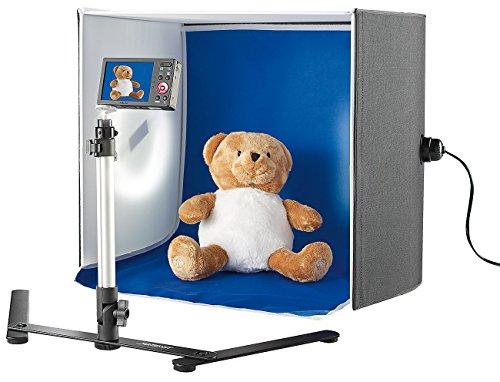 Somikon Produktfoto Box: Professionelle Foto-Studio-Box, 2 Fotolampen & Stativ, 22 W, 1.710 lm (Photo Studio Box)