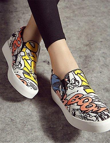 Zapatos Shangyi Para Mujer - Mocasines - Casual - Puntera Redondeada - Plancha - Tela - Rojo / Blanco Blanco