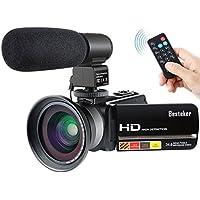 1080p Caméscope HD 30FPS, Besteker Caméra Vidéo Numérique Vision Nocturne Infrarouge 24MP 16X zoom Caméra HD avec Télécommande et Microphone Externe et Objectif à Grand Angle