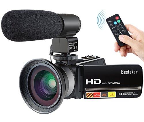 Videocamera fhd 1080p besteker portatile fotocamera digitale zoom 16x 24.0mp macchina visione notturna a infrarossi obiettivo grandangolare e microfono esterno