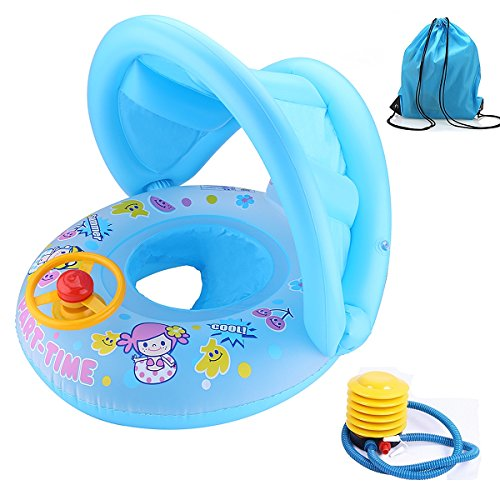 1-3-Years-Girl-Baby-Swim-Ring-Inflatable-Pool-Floats-Boat-with-Sunshade-HornStorage-Bag-and-Air-Pump