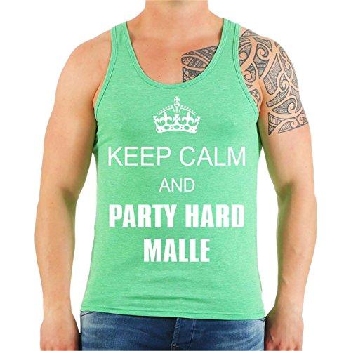 Männer und Herren Trägershirt Keep Calm and PARTY HARD MALLE Größe M - XXL mintgrün meliert