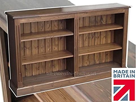 Solid Pine Bookcase in Dark Oak, 3ft x 5ft Handcrafted & Waxed Split Adjustable Storage Display Shelving, Bookshelves. Choice of Colours. No flat packs, No assembly